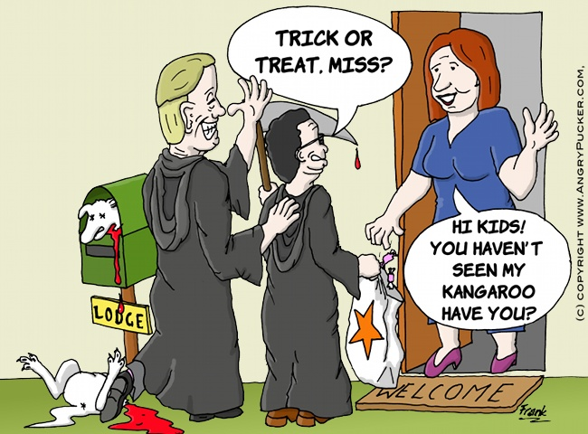 Qantas Halloween, with Leigh Clifford, Alan Joyce and Julia Gillard